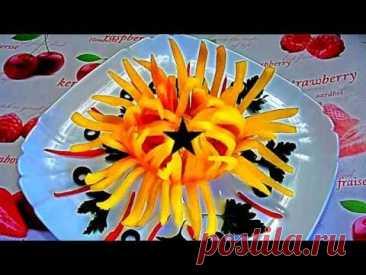¡El crisantemo del pimiento! ¡La flor del pimiento! ¡Karving del pimiento! - YouTube