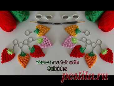 Связанный крючком брелок клубника - брелок амигуруми - брелок для вязания - модели для вязания