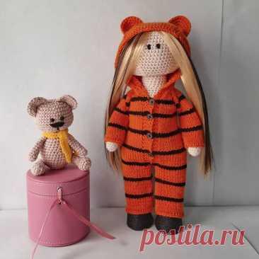 PDF Куколка крючком. FREE crochet pattern; Аmigurumi doll patterns. Амигуруми схемы и описания на русском. Вязаные игрушки и поделки своими руками #amimore - большая кукла, куколка, девочка.