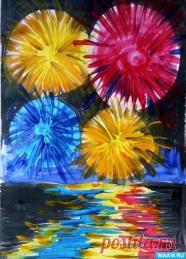Мастер-класс по рисованию с использованием восковых мелков «Салют Победы!». Воспитателям детских садов, школьным учителям и педагогам - Маам.ру