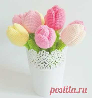 1000 схем амигуруми на русском: Вязаные тюльпаны
