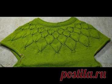 Вяжем азиатский росток и подрезы.3 часть .Пуловер с круглой кокеткой. Пуловер Листопад.