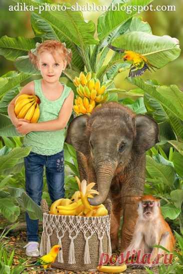 """Детский летний фотошаблон в PSD """"Слоненок и бананы"""""""