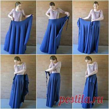 Как сшить юбку-клеш с запахом без швов, выкройка, пошагово?