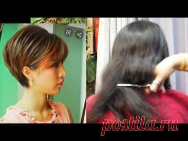 Красивая короткая стрижка из густых волос