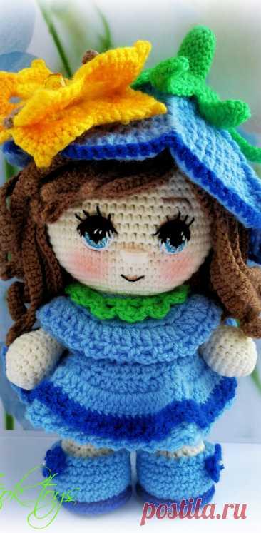 PDF Пупс-малышка Колокольчик крючком. FREE crochet pattern; Аmigurumi doll patterns. Амигуруми схемы и описания на русском. Вязаные игрушки и поделки своими руками #amimore - Кукла.
