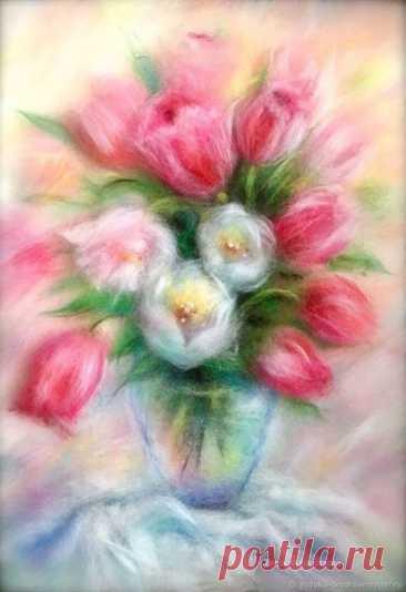 Цветочная весна: подборка картин из шерсти на одну тему