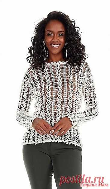 "Пуловер ""Off-White"" - Все в ажуре... (вязание крючком) - Страна Мам"