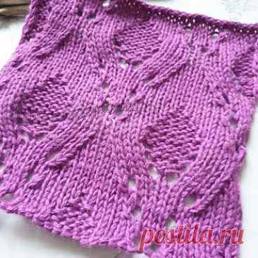 Красивый простой ажурный узор для пуловера, схема узора - Самые красивые узоры спицами
