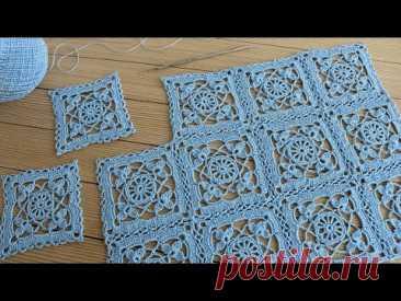 Идеальный КВАДРАТНЫЙ МОТИВ крючком ВЯЗАНИЕ для начинающих СХЕМА квадрата  Crochet Square Lace Motif