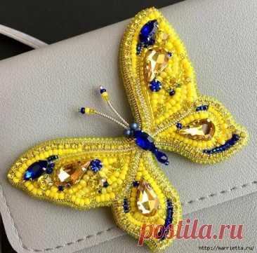 (14) Брошь «Бабочка» в технике французская вышивка - Самоделкино - медиаплатформа МирТесен