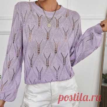 Вяжем сиреневый пуловер спицами