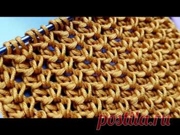 "Вяжем рассыпчатый узор ""Колосок"" 🌻 knitting pattern."