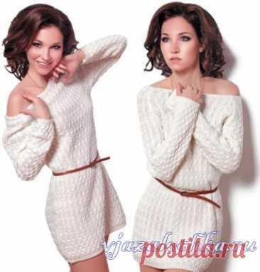 Los vestidos de mujer tejidos y los sarafanes, el esquema de los sarafanes – Вязалочка.ру