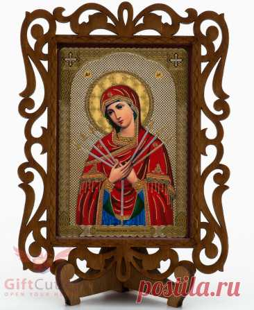 """Christian Семистрельная икона Mother of God seven arrows Orthodox wooden Icon • £4.25 CHRISTIAN СЕМИСТРЕЛЬНАЯ ИКОНА Mother of God seven arrows Orthodox wooden Icon - £4.25. FOR SALE! Икона Божией Матери «Семистрельная» (Our Lady of Sorrows) Икона на деревянной подставке настольная. Wooden icon on table stand. Сделанно в России Made in Rusia Размеры иконы Icon size 4.9"""" tall x 3.7"""" wide x 0.3"""" thick I usually ship within 1 business day and saturdays. If your item is paid 162860787518"""