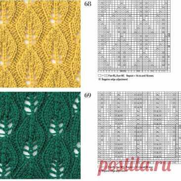 Вязание спицами. Варианты популярных, ажурных узоров «Листья». Схемы узоров   Сундучок с подарками   Яндекс Дзен