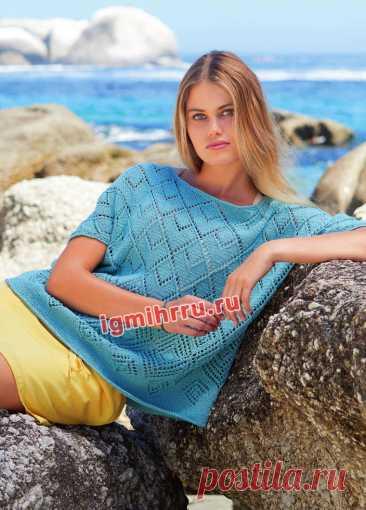 Летний пуловер с ажурным узором из ромбов — HandMade