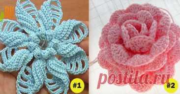 Как связать крючком 7 великолепных цветов... Для украшения свитера или шапки!