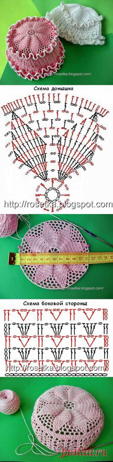Knitting by a hook of a summer hat for the girl - knitting by a hook on kru4ok.ru