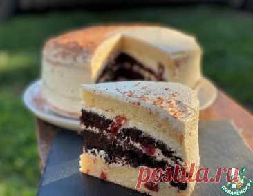 Шоколадно-ванильный торт с вишней – кулинарный рецепт