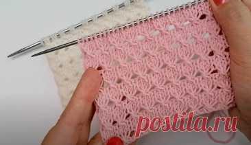 Очень простой, но нежный, ажурный узорчик (Вязание спицами) – Журнал Вдохновение Рукодельницы