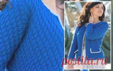 Женская кофта спицами, с контрастной отделкой | спицы
