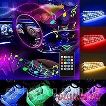 Підсвітка салону авто з датчиком звуку Automobile Atmosphere Lamp подсетка салона авто 48 світлодіодних ліхтарів (4*12) автомобільних смуг, RGB, активована музика, світлодіодні прикраси інтер'єру автомобіля, функція датчика звуку, бездротове дистанційне керування, автомобільне зарядне обладнання в комплекті  Специфікація    Матеріал: FPC & Резина   Колір світла: RGB   Світловий смуга: 4 шт. / Комплект   Тип світлодіода: 5050 SMD   Кількість світлодіодів: Всього 48 світлоді...