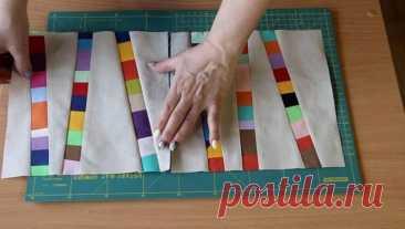 Идея утилизации остатков ткани Роскошное одеяло, или плед, или накидку на диван можно легко и просто сшить в удивительной технике лоскутного шитья. Для этого вам понадобится любая фоновая ткань (лучше брать нейтральных оттенков) и ...