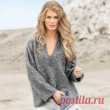 Объемный пуловер из меланжевой пряжи спицами – 3 схемы женских моделей с описанием - Пошивчик одежды Объемные пуловеры – близкие друзья женских пуловеров оверсайз. Однако, различия все же имеются. Хоть и не большие. В данных моделях отличаются горловины и