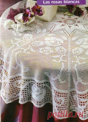 Для любителей филейного вязания, 8 скатертей на круглый стол со схемами | pro100stil | Яндекс Дзен