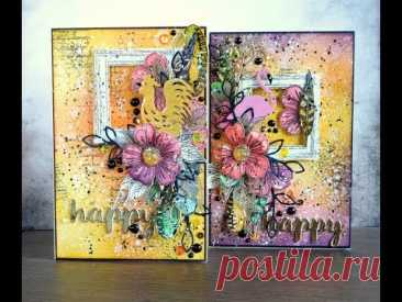Mixed Media cards. Step-by-step tutorial/ Яркие миксмедийные открытки. Мастер-класс. - YouTube