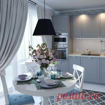 Пример уютной кухни. Люблю люстру над обеденным столом.