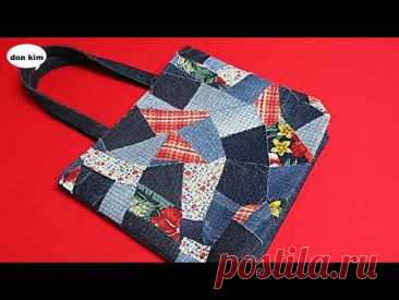 """DIY자투리 원단으로 """"명품백""""을  만들어요!/패치웍 사각 퀼팅 토트백/make a """"luxury bag""""/patchwork square quilting tote bag"""