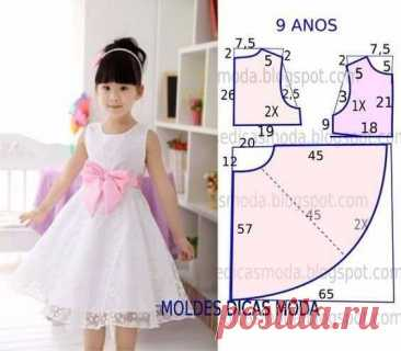 5 простых выкроек детских платьев для девочек 9 лет