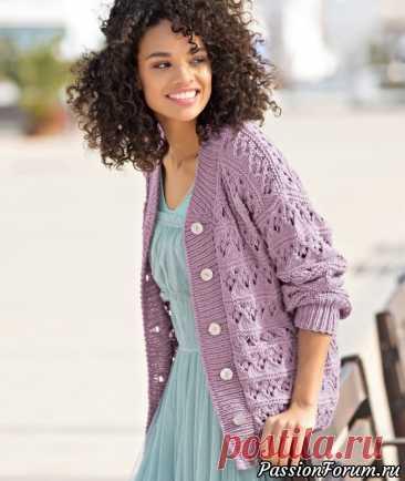 Сиреневая кофта | Вязание для женщин спицами. Схемы вязания спицами