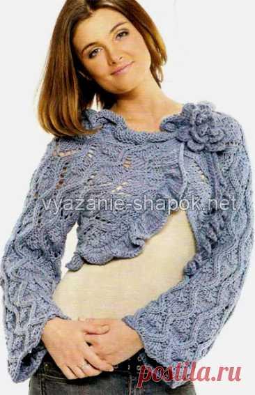 Изящное болеро спицами со схемой и описанием (+схема цветка крючком)   Вязание Шапок - Модные и Новые Модели