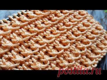 Вяжем классный плотный вафельный узор спицами 🍓 knitting pattern.