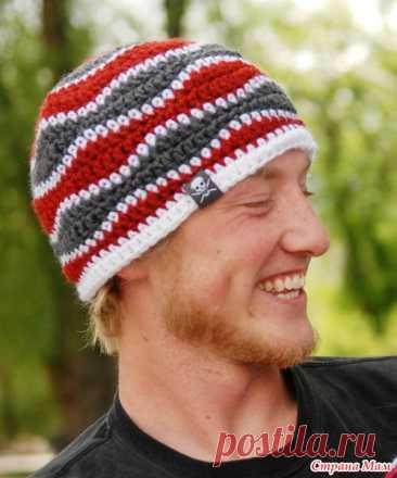 Мужская шапка крючком ( для больших и маленьких) . МК... Не сложно , а смотрится Класс!!!