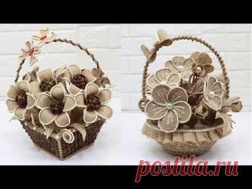 4 Beautiful Jute Flower Basket | Home decorating ideas handmade