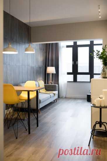 Как из «бетонной коробки» сделали стильную однушку 52 м² с отдельной спальней: планировка до и после   Филдс   Яндекс Дзен
