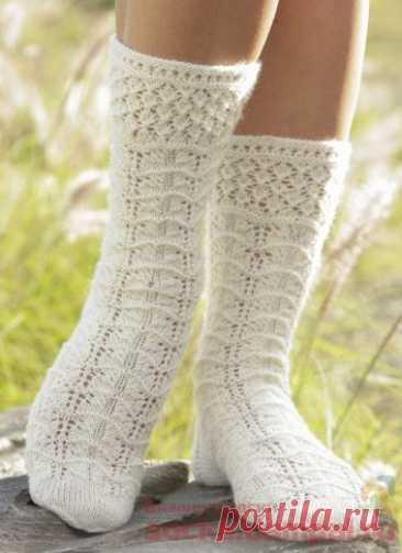 Вязаные носки «Spring Snow» | ВЯЗАНЫЕ НОСКИ