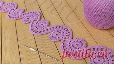 Ажурное ЛЕНТОЧНОЕ КРУЖЕВО вязание крючком КАЙМА мастер-класс How to Crochet Lace Tape Ribbon