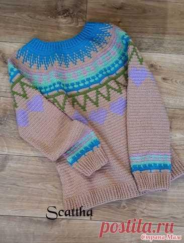 Пуловер жаккард крючком - Вязание - Страна Мам