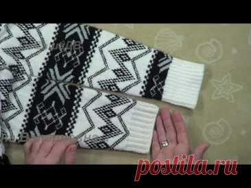 Как укоротить длину вязаного рукава. Самый простой способ.