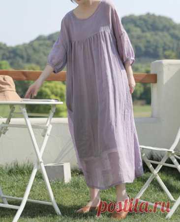 Women summer Ramie long dress Women's dress Have pockets | Etsy