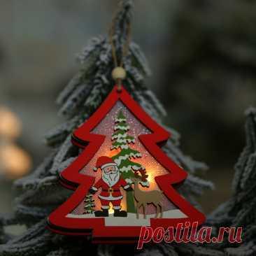 Деревянная подвесная светодиодная гирлянда с рождественской елкой, украшение со сказочным орнаментом, новогодняя Свадебная гирлянда, новогоднее Рождественское украшение для дома | Дом и сад | АлиЭкспресс