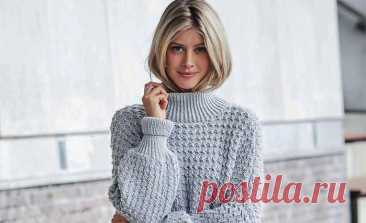 Красивый теплый пуловер оверсайз спицами
