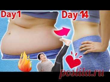 Избавьтесь от жира на животе за 14 дней, лежа! Упражнения для начинающих и магический массаж шиацу