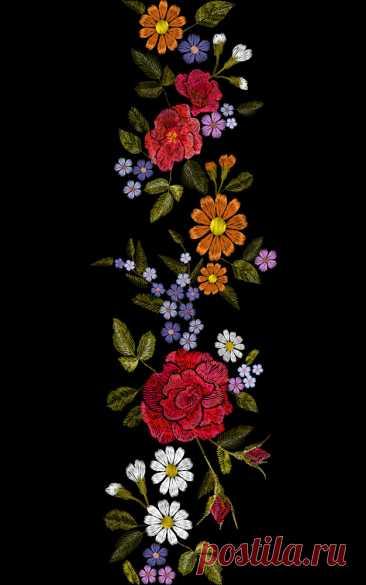 Цветочная красная роза синяя фиолетовая ромашка вышивка бесшовных бордюр Здесь вы найдете тысячи векторных изображений класса премиум в форматах AI и EPS