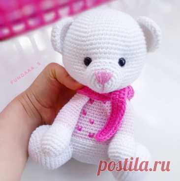 1000 схем амигуруми на русском: Белый мишка амигуруми